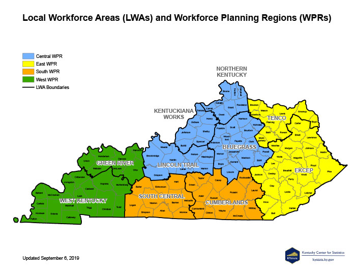 Kentucky Local Workforce Areas map.